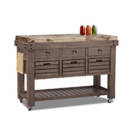 Calisto Timber Butchers Block Granite Top Mobile Kitchen Chopping Board Work Bench Island Trolley