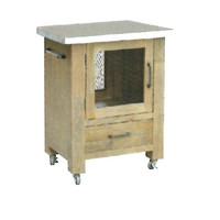Cordia Timber Butchers Block Stainless Steel Top Mobile Kitchen Chopping Board Work Bench Island Trolley