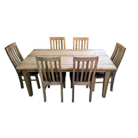 Homefurn Woodstock NZ Pine Timber Dining Setting 1800mm Table and 6 x PU Chair Set Driftwood