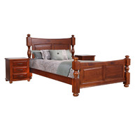 Panel King Bed NZ Grade Pine Timber Homefurn Derby Light mahogany 1906 DPK