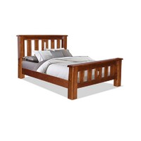 Homefurn Queen Bed Jamaica Federation NZ Grade Pine Timber Light Mahogany 2210 JFQ