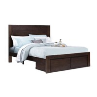 Homefurn King Bed with Drawers Queenstown NZ Pine Timber Mocha 3011 QKD