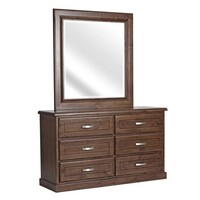 Homefurn Dresser and Mirror 1400 x 450 x 1900 Timber Bushland Antique Night 2119 BDM