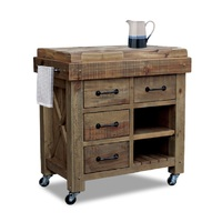 Langdon Timber Butchers Block Hardwood Top Mobile Kitchen Chopping Board Work Bench Island Trolley