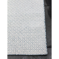 The Rug Collection Braid Pastille 100% Wool Reversible Flatweave with textured diamond pattern 160 x 230cm Ivory Blue