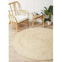 Round Jute Natural Flooring Rug Area Carpet Bleached 150x150cm