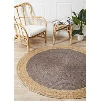 Round Jute Natural Flooring Rug Area Carpet Charcoal 150x150cm