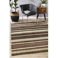 Rug Culture Stylish Stripe Flooring Rugs Area Carpet Brown Beige 220x150cm