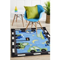 Rug Culture Fun Automobile Traffic Flooring Rugs Area Carpet Blue 165x115cm