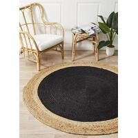 Round Jute Natural Flooring Rug Area Carpet Black 120x120cm