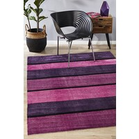 Rug Culture Modern Purple Pink Black Bands Flooring Rugs Area Carpet 220x150cm