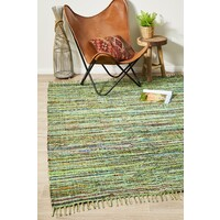 Rug Culture Primal Chindi Cotton Flooring Rugs Area Carpet Green 220x150cm