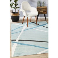 Rug Culture Abstract Lines Flooring Rugs Area Carpet Blue 220x150cm
