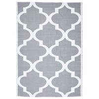Rug Culture Coastal Indoor Out door Flooring Rugs Area Carpet Trellis Grey White 220x150cm
