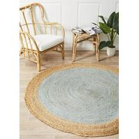 Rug Culture Round Jute Natural Flooring Rugs Area Carpet Blue 200x200cm