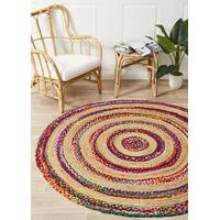 April Target Cotton and Jute Flooring Rug Area Carpet Multi 120x120cm