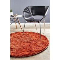 Rug Culture Pack of 3 Freckles Round Shag Flooring Rugs Area Carpets Rust 60x60cm