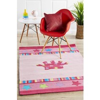 Rug Culture Pretty Girls Crown Flooring Rugs Area Carpet Pink 165x115cm