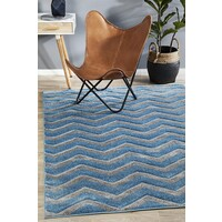 Rug Culture Modern Chevron Design Flooring Rugs Area Carpet Blue Grey 230x160cm