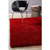 Rug Culture Metallic Noodle Shag Flooring Rugs Area Carpet Red 165x115cm