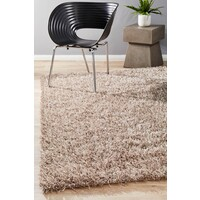 Rug Culture Metallic Noodle Shag Flooring Rugs Area Carpet Champagne 225x155cm
