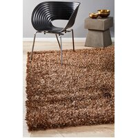 Rug Culture Metallic Noodle Shag Flooring Rugs Area Carpet Dark Brown 130x70cm