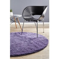 Texture Round Shag Flooring Rug Area Carpet Purple 90x90cm
