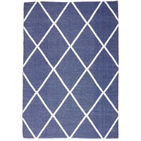 Rug Culture Coastal Indoor Out door Flooring Rugs Area Carpet Diamond Navy White 220x150cm