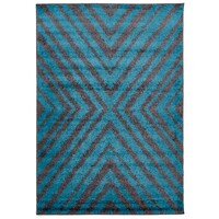 Domino Shag Flooring Rug Area Carpet Charcoal and Blue 230x160cm