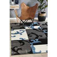 Squares and Vines Flooring Rug Area Carpet Charcoal Blue 230x160cm