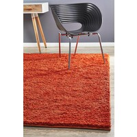 Texture Shag Flooring Rug Area Carpet Orange 280x190cm