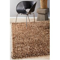 Rug Culture Metallic Noodle Shag Flooring Rugs Area Carpet Beige 165x115cm