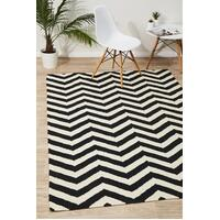 Rug Culture Flat Weave Chevron Design Flooring Rugs Area Carpet Black White 225x155cm