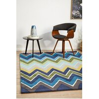 Rug Culture Eclectic Chevron Flooring Rugs Area Carpet Navy Blue 225x155cm