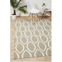 Rug Culture Flat Weave Oval Print Flooring Rugs Area Carpet Grey 225x155cm