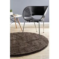 Texture Round Shag Flooring Rug Area Carpet Dark Brown 90x90cm