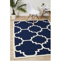 Rug Culture Flat Weave Large Moroccan Design Flooring Rugs Area Carpet Navy 225x155cm