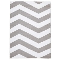 Rug Culture Coastal Indoor Out door Flooring Rugs Area Carpet Chevron Grey White 270x180cm