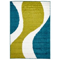Rug Culture Enigma Shag Flooring Rugs Area Carpet Lime Blue White 230x160cm
