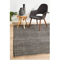 Rug Culture Carlos Felted Wool Flooring Rugs Area Carpet Black Natural 280x190cm