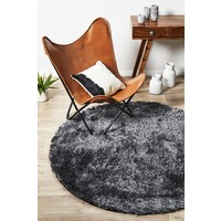 Twilight Shag Flooring Rug Area Carpet - Charcoal 150x150cm