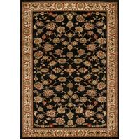Traditional Floral Pattern Flooring Rug Area Carpet Black 290x200cm