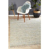 Bondi Leather and Jute Flooring Rug Area Carpet Sky Blue 320x230cm