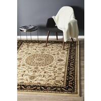 Rug Culture Medallion Runner Ivory with Black Border 150x80cm
