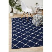 Rug Culture Flat Weave Stitch Design Runner Navy 300x80cm