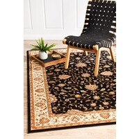 Rug Culture Stunning Formal Classic Design Runner Black 300x80cm