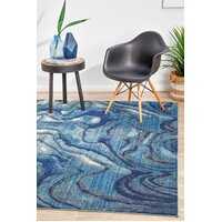 Waves Modern Indigo Flooring Rug Area Carpet 290x200cm