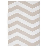 Rug Culture Coastal Indoor Out door Flooring Rugs Area Carpet Chevron Taupe White 270x180cm