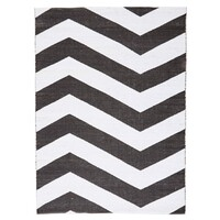 Rug Culture Coastal Indoor Out door Flooring Rugs Area Carpet Chevron Black White 270x180cm