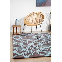 Rug Culture Gothic Tribal Design Flooring Rugs Area Carpet Smoke Grey and Blue 280x190cm